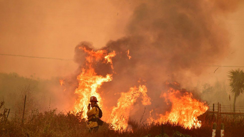 Flames leap along the 101 freeway in La Conchita, Ventura County, as a firefighter stands nearby on December 7, 2017