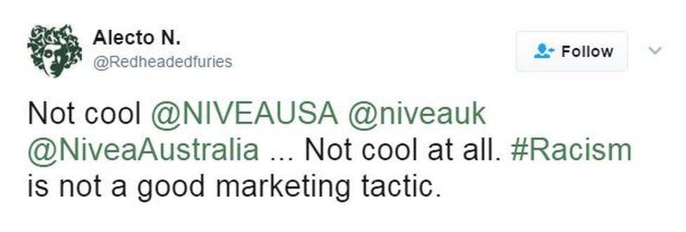 @Redheadedfuries tweets: Not cool @NIVEAUSA @niveauk @NiveaAustralia ... Not cool at all. #Racism is not a good marketing tactic.