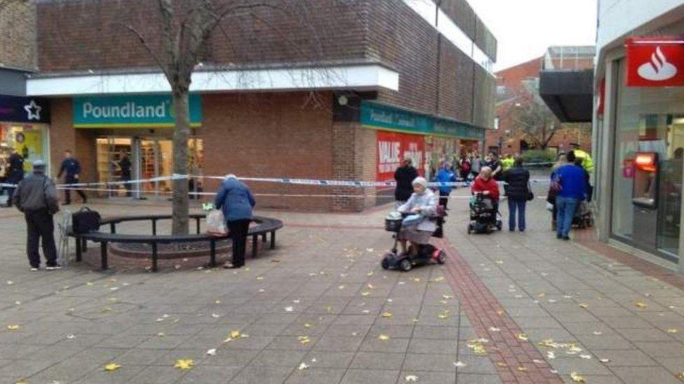 The cordon outside the Poundland store in Abingdon