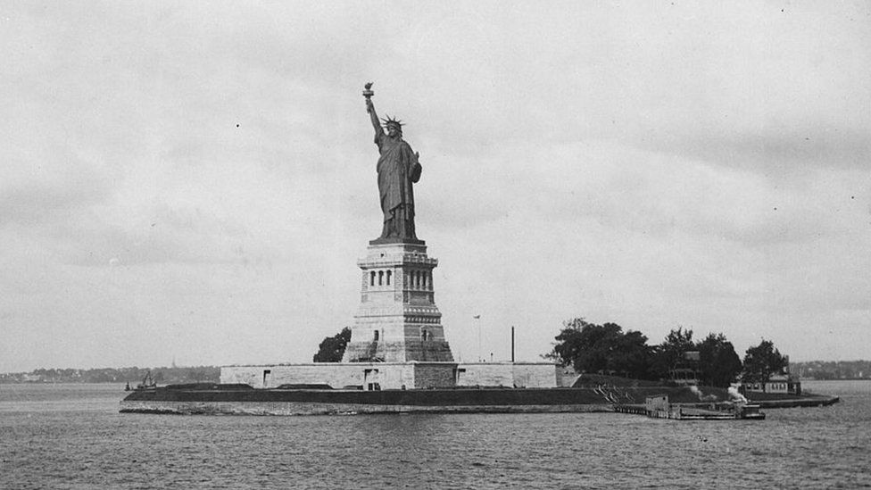 The Statue of Liberty, pictured in 1893