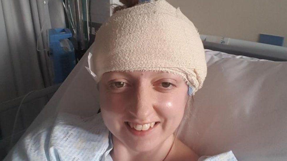 Sarah-May Philo after her brain surgery