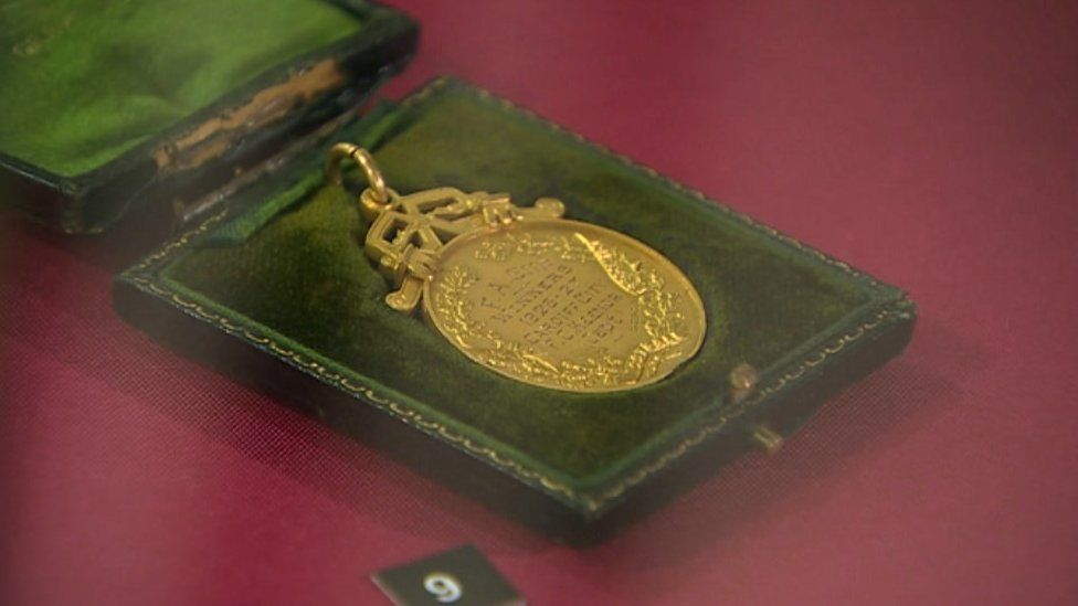 Captain Fred Keenor's match winner's medal can be seen