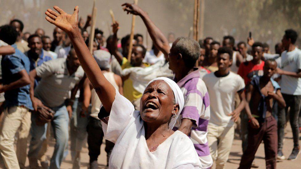 Supporters of Bekele Gerba, secretary general of the Oromo Federalist Congress (OFC), chant slogans to celebrate Gerba's release from prison, in Adama, Oromia Region, Ethiopia