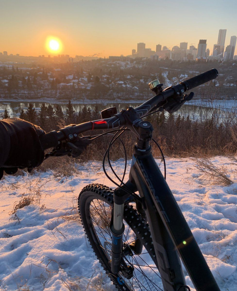 Bicycle in a snowy landscape