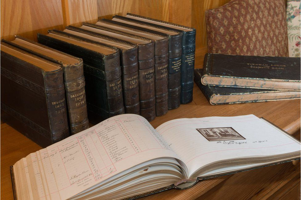 Historic books recording the river temperature