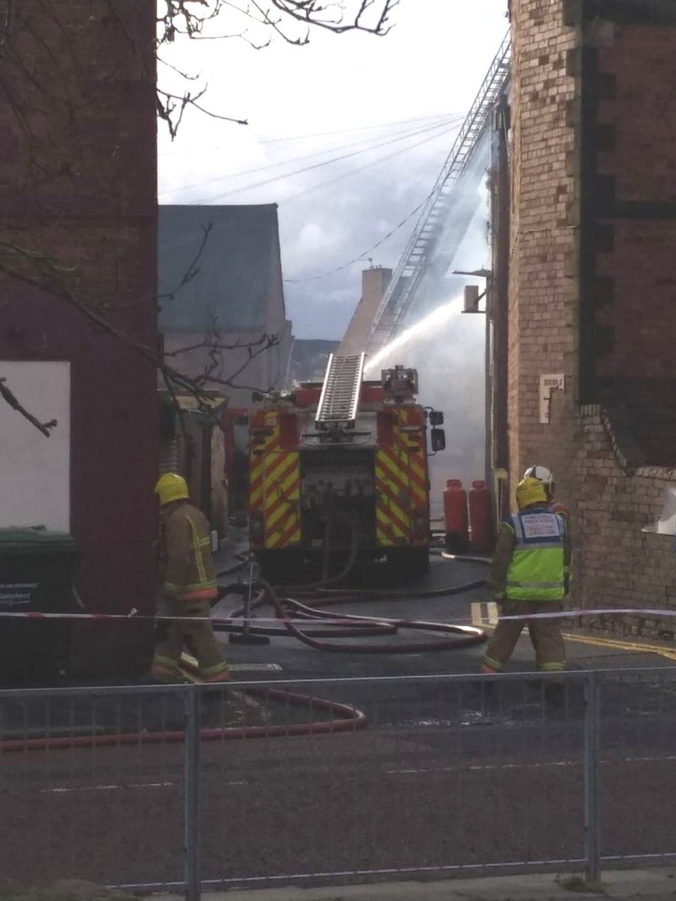 Firefighters tackling fire in Gateshead