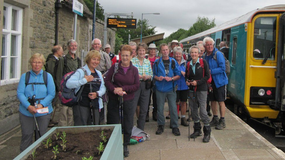 Walkers set off from Bucknell Station