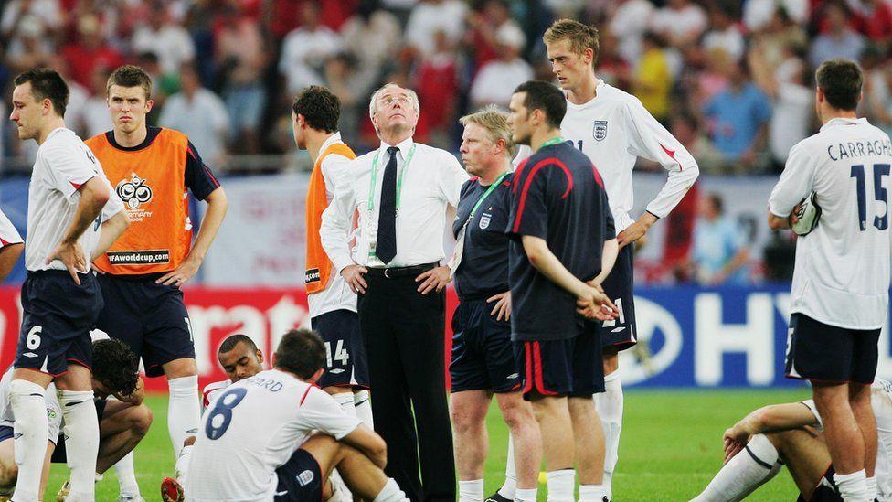 Sven Goran Eriksson looks skyward after England are again beaten on penalties