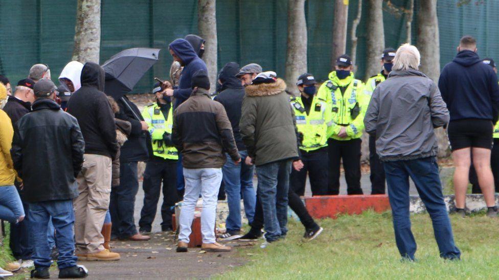 Protestors at Penally camp in Pembrokeshire
