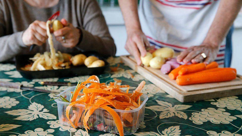 Vegetable peelings on a table