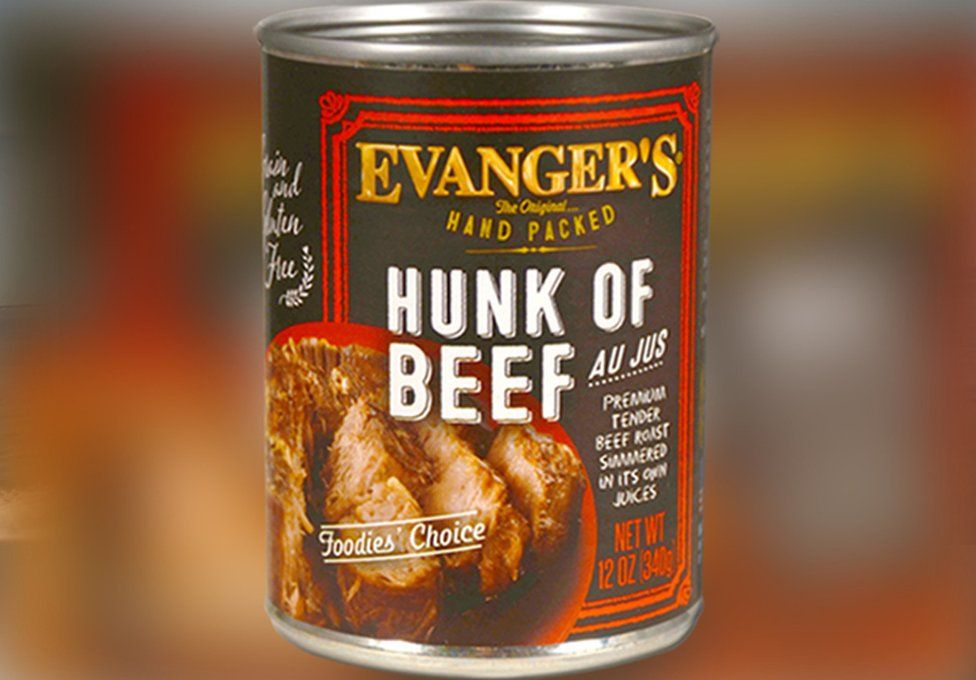 the Hunk of Beef dog food can