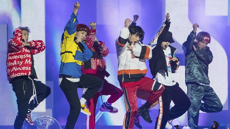 K-pop band BTS performing
