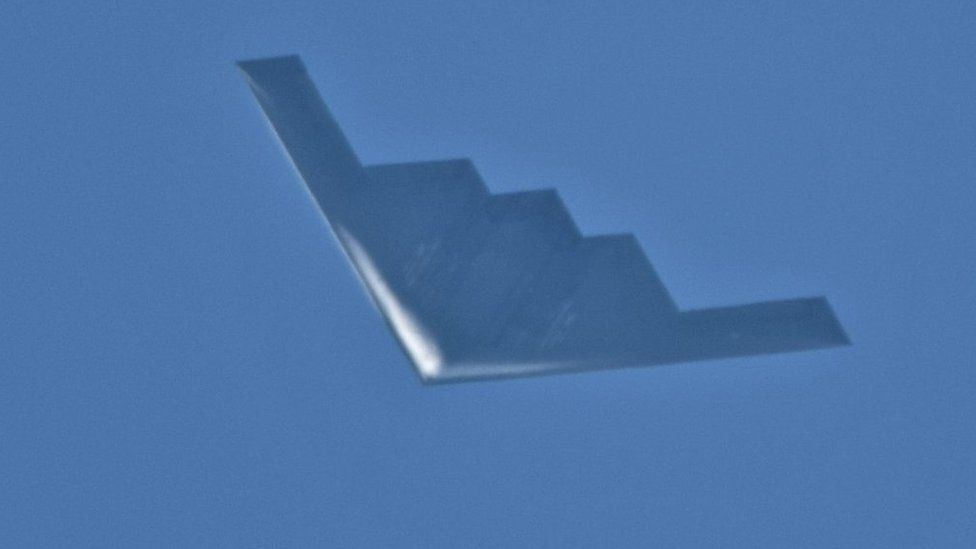 B2 Spirit stealth bomber photographed from Isle of Lewis