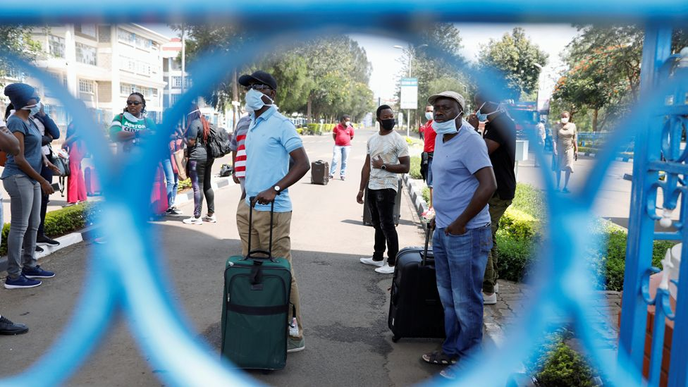 Kenyans under quarantine protest at Kenyatta University near Nairobi, Kenya - 15 April 2020