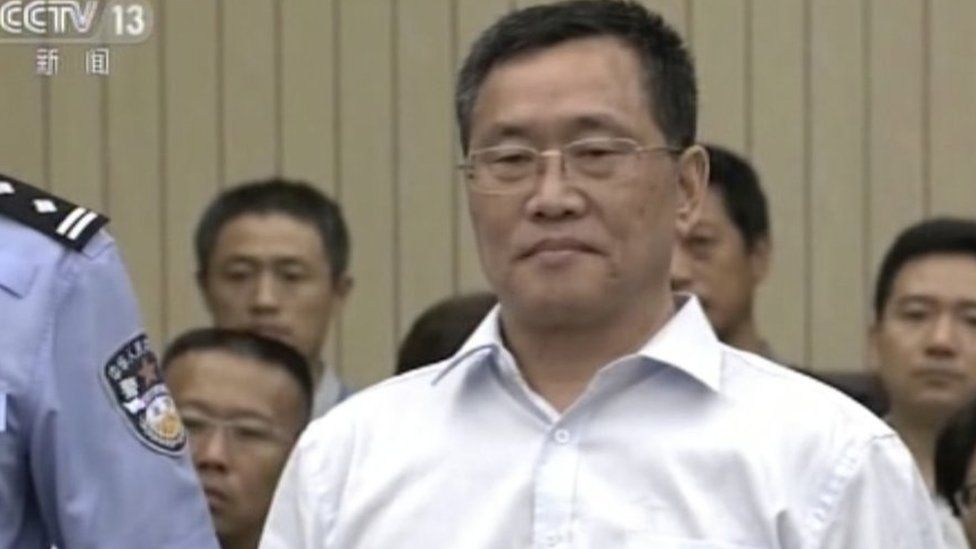 "In this image taken from video and made available via AP Video, Zhou Shifeng arrives for his trial at the Tianjin No. 2 Intermediate People""s Court in northern China""s Tianjin Municipality on Thursday, Aug. 4, 2016."