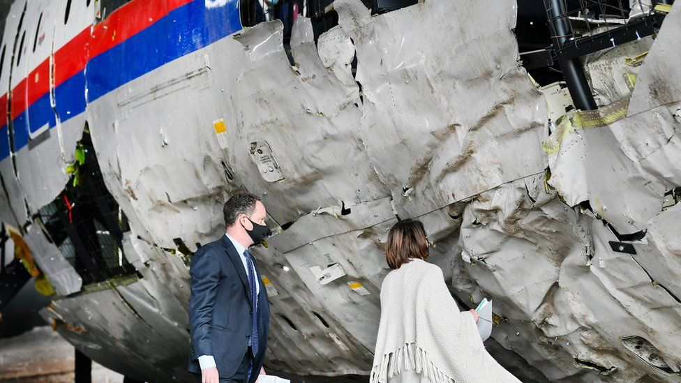 """Prosecutor Thijs Berger attends the judges"""" inspection of the reconstruction of the MH17 wreckage, as part of the murder trial ahead of the beginning of a critical stage, in Reijen, Netherlands, May 26, 2021"""