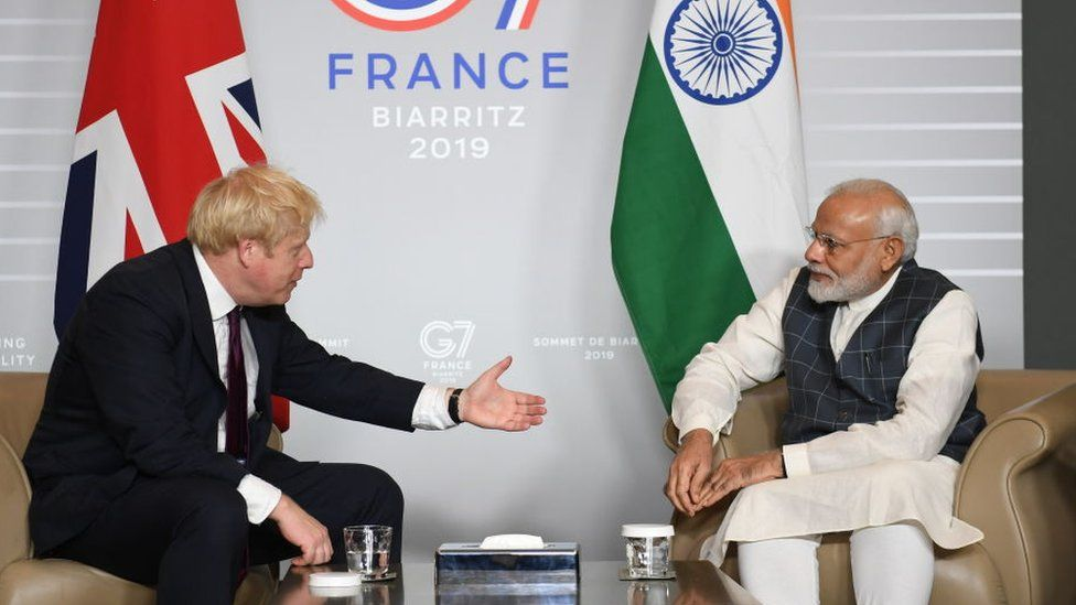 Prime Minister Boris Johnson and Indian Prime Minister Narendra Modi