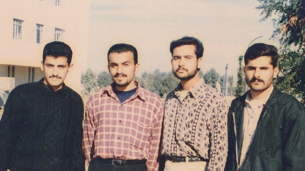 Basheer and Kareem with two other student friends in 1990s Mosul
