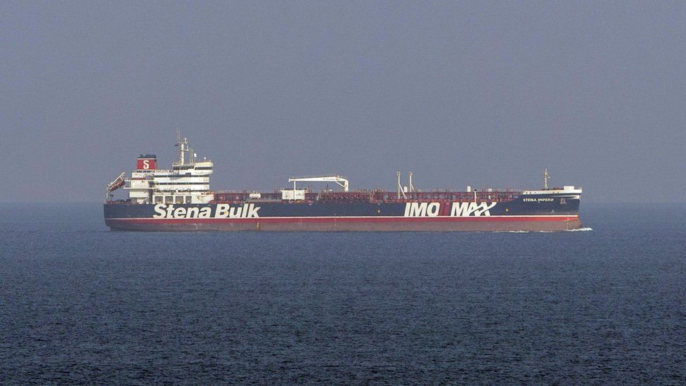 A Ministry of Defence photo showing the Stena Impero leaving Iran