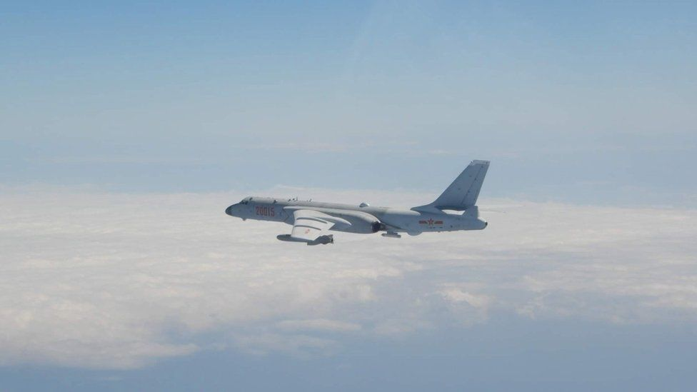 A Chinese jet bomber seen following the incursion of 52 planes into Taiwan's air defence identification zone - handout by Taiwan's defence ministry