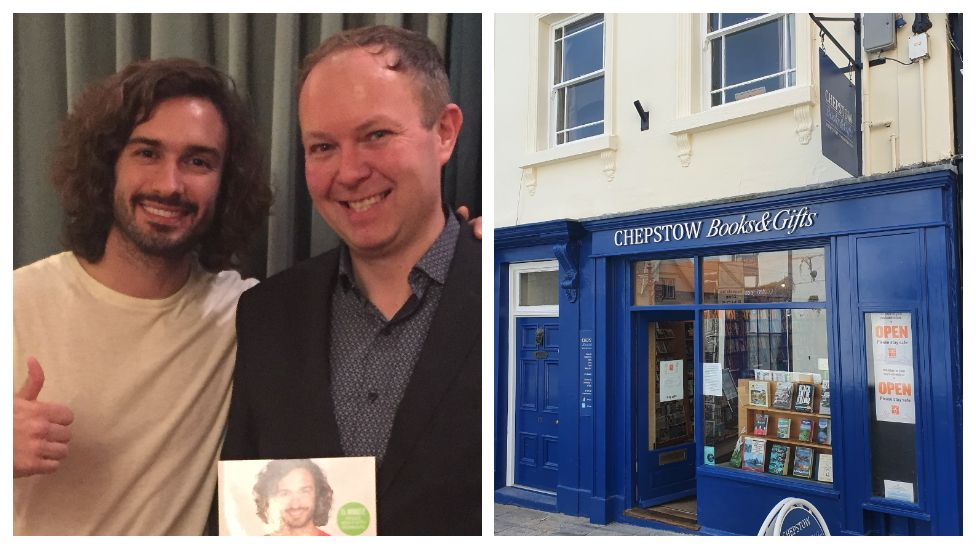 Joe Wicks and Matt Taylor and a picture of Chepstow Bookshop