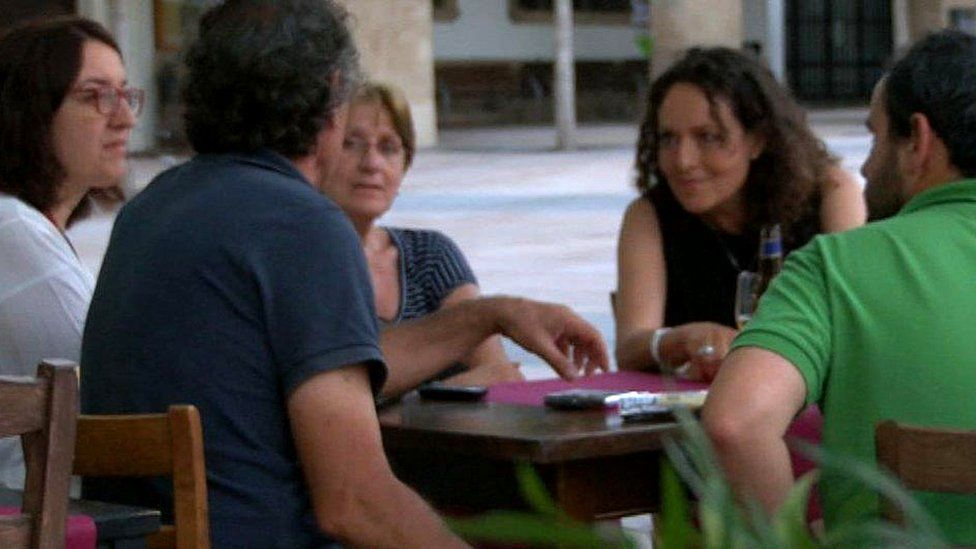 Sarah speaking to a group of Spanish people in Javea