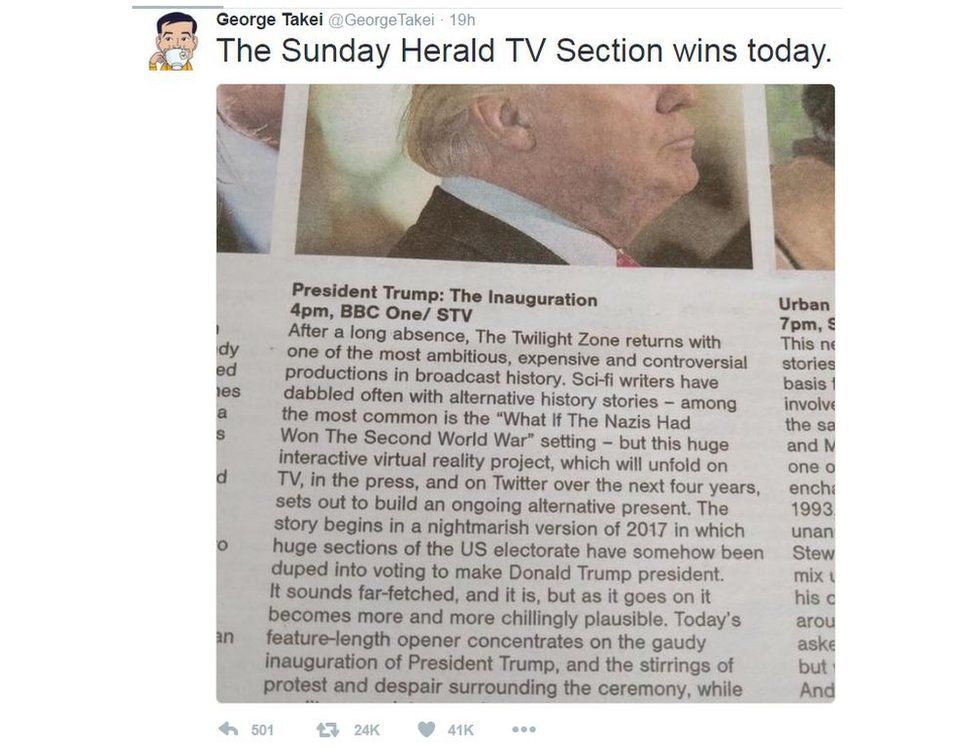 """George Takei wrote: """"The Sunday Herald TV Section win today"""""""