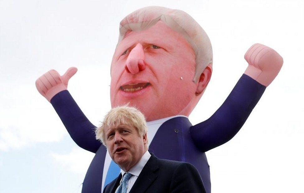 Boris Johnson and blimp