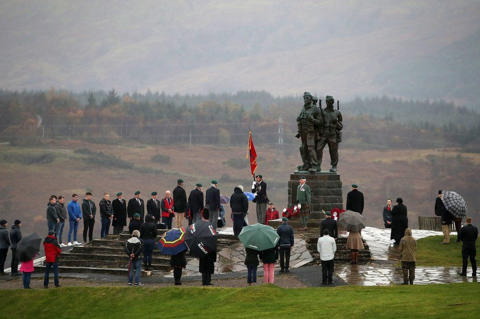 A small number of serving and former Royal Marine Commandos at the Commando Memorial at Spean Bridge, near Fort William, for the annual Remembrance Sunday ceremony
