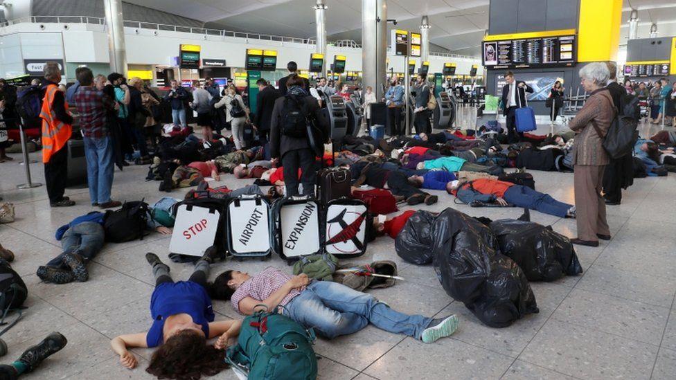'Die-in' protest at Heathrow terminal 2