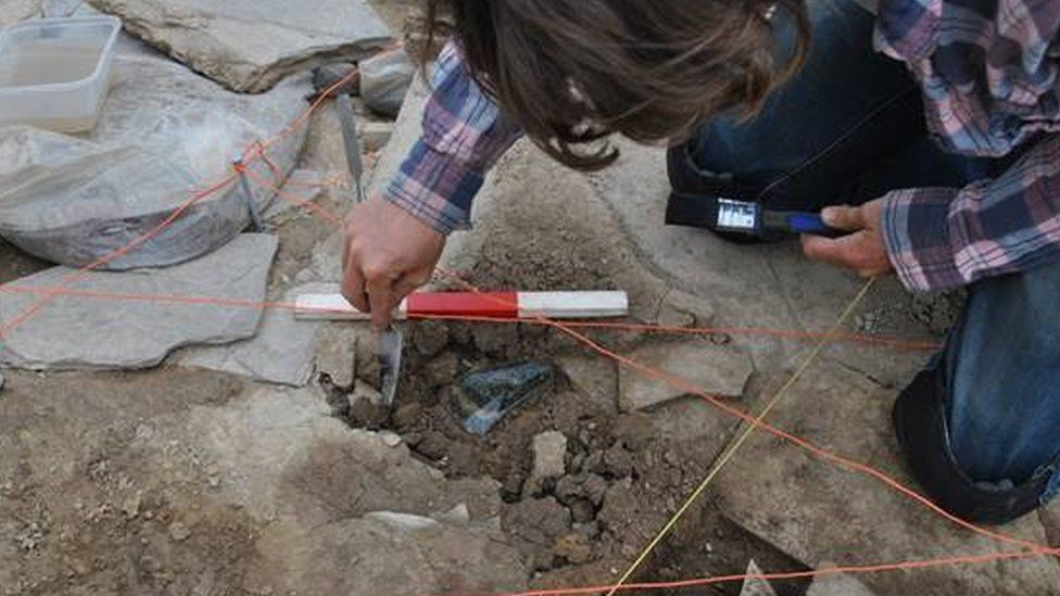 Axe being uncovered by archaeologist Therese McCormick