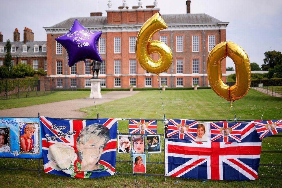 Tributes for Princess Diana outside Kensington Palace