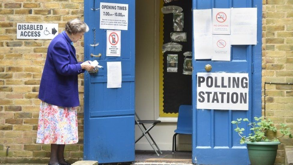 Polling Station at St John's Church Hall Hyde Park with Conservative constituency teller standing outside on 07/05/2015, as Britain holds a general election