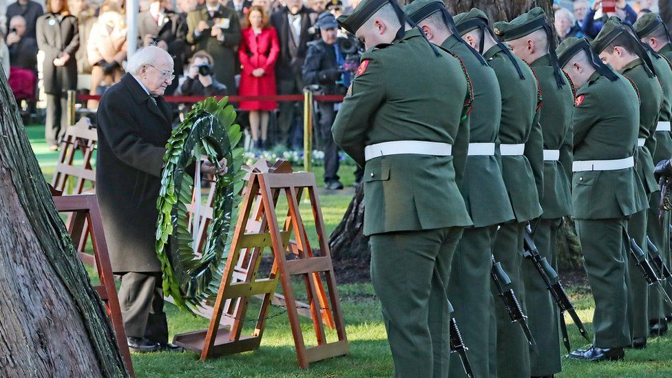 Irish president-elect Michael D Higgins places a wreath during a state remembrance event for Armistice Day in Glasnevin Cemetery in Dublin