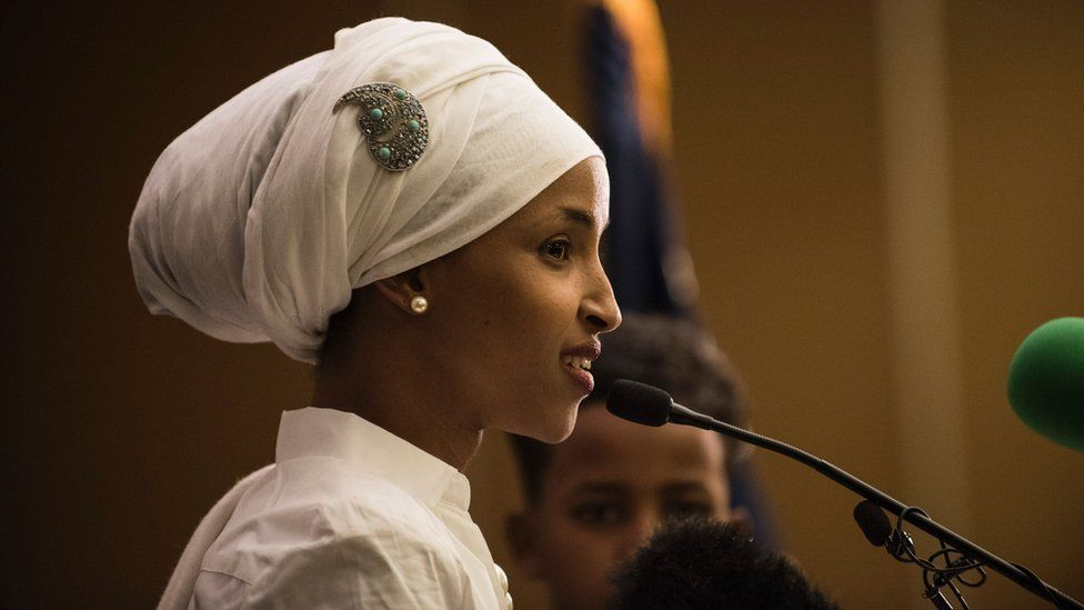 Ilhan Omar gives an acceptance speech on election night, November 8, 2016 in Minneapolis, Minnesota.