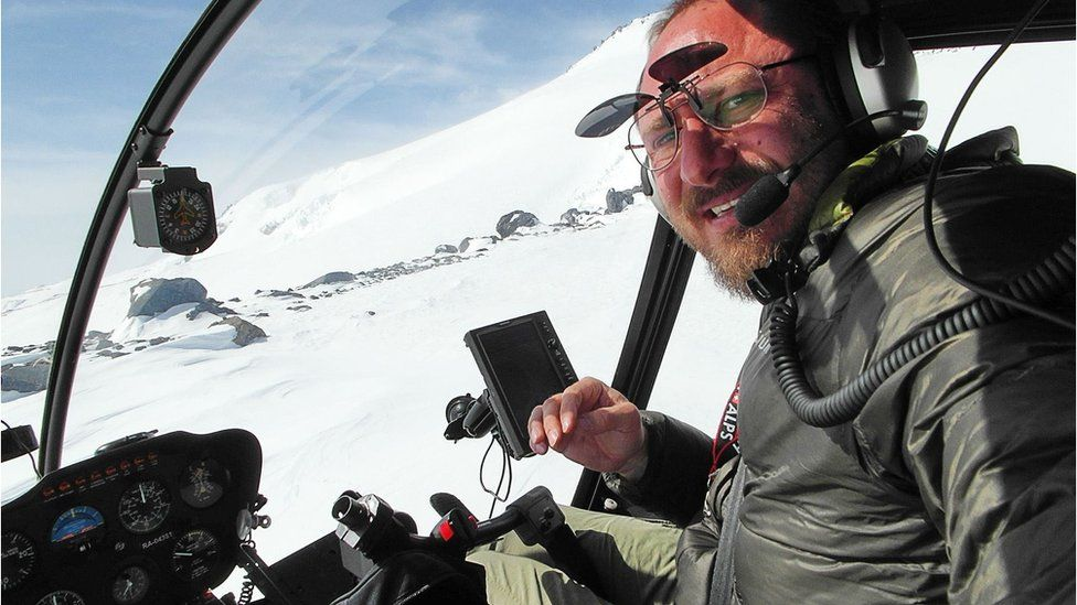 Sergey Ananov flying his helicopter in the Arctic