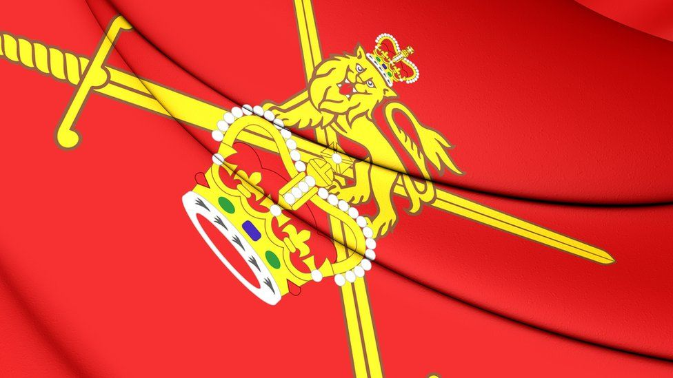 The British Army crest on a flag