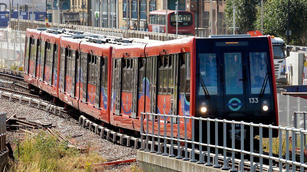 A DLR train in Beckton, London