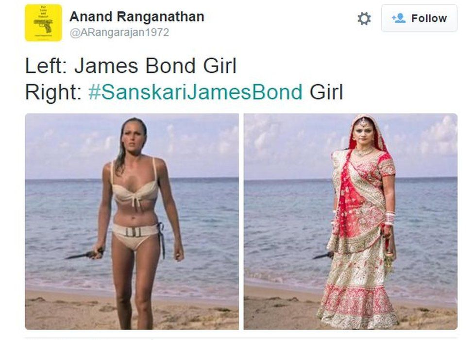Anand Ranganathan: Left - James Bond girl, Right - #SanskariJamesBond girl