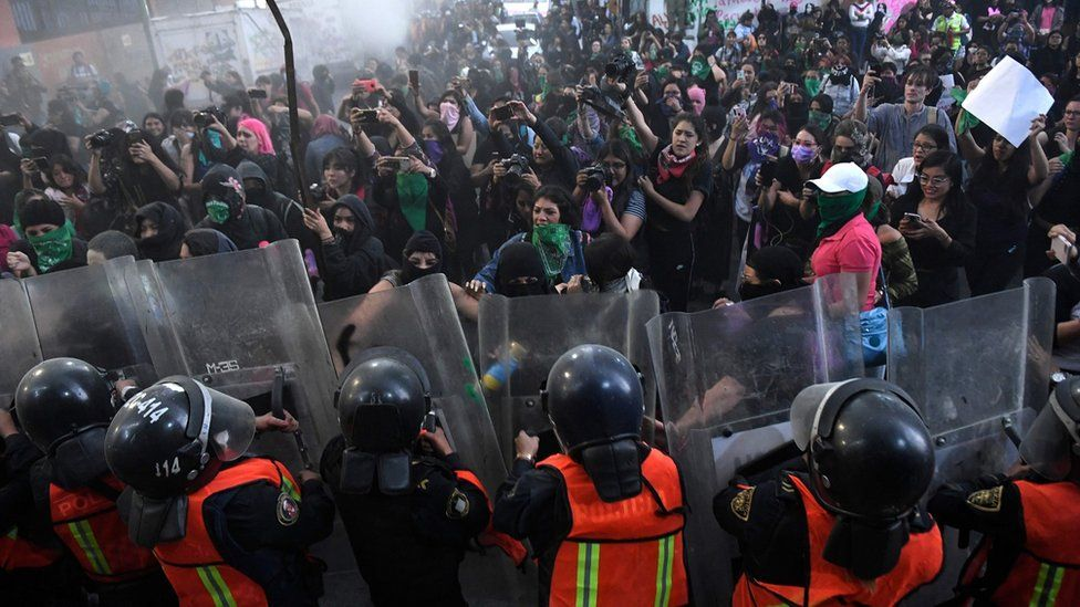 Protester clash with police