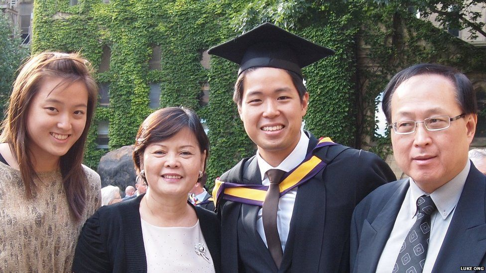 Dr Luke Ong, seen with his family,
