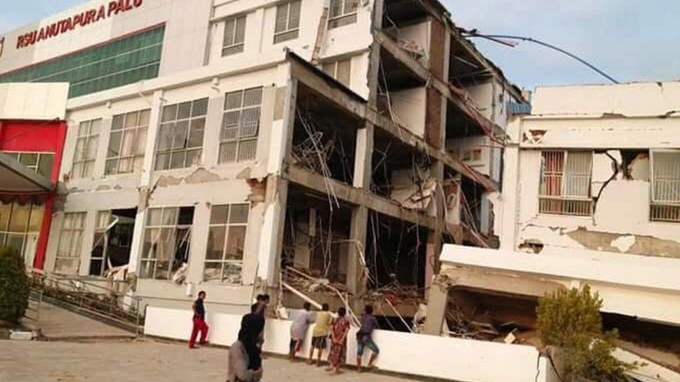 A collapsed hospital in Palu, Indonesia