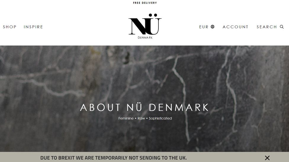 Nu Denmark homepage, showing a notification