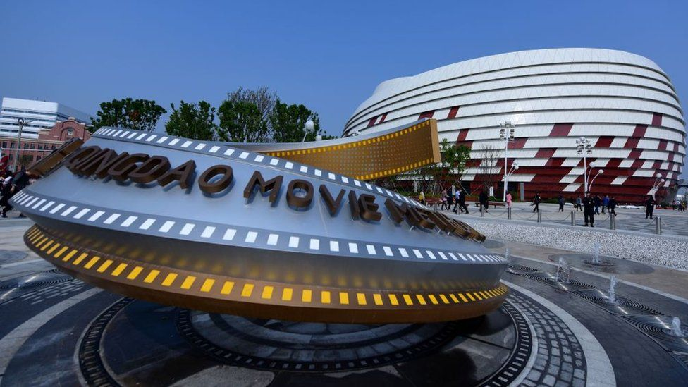 An installation is seen at the Wanda Qingdao Movie Metropolis in Qingdao, China