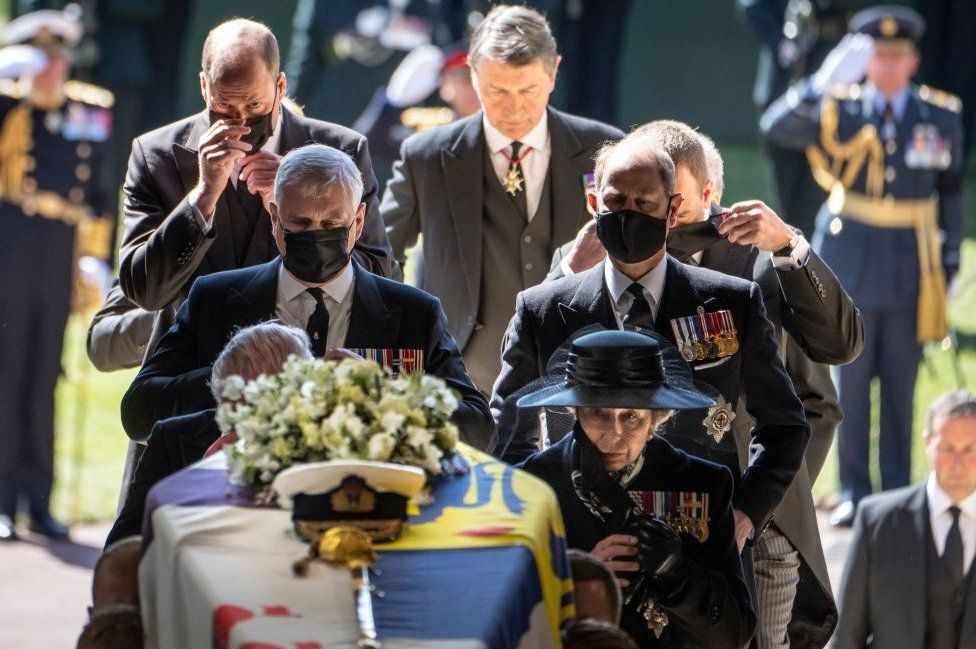 Members of the royal family follow the coffin into St George's Chapel