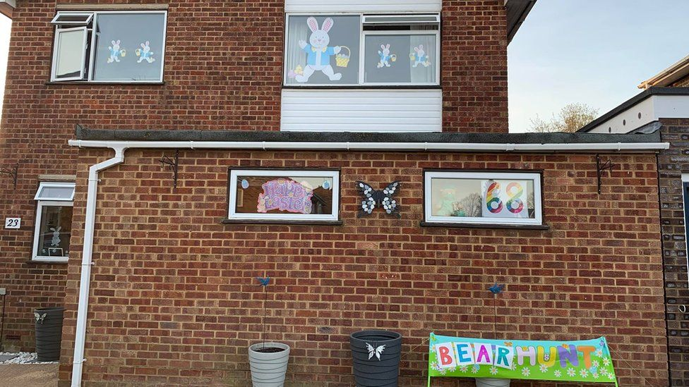 Residents in Buntingford, Hertfordshire, decorate their homes for a children's bear hunt