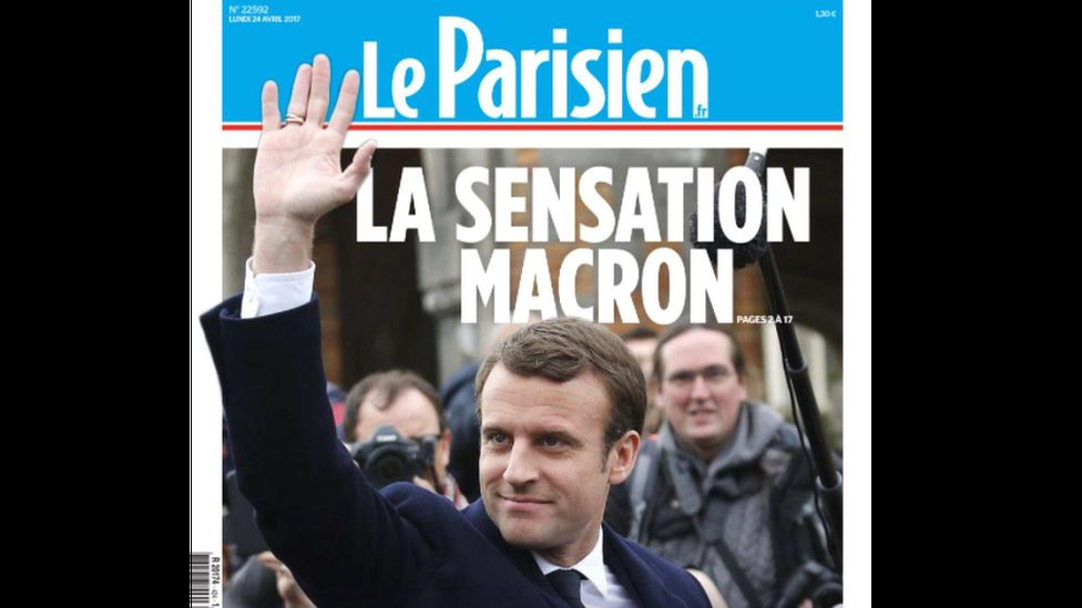 "French newspaper Le Parisian headline reads ""Macron, the sensation"""