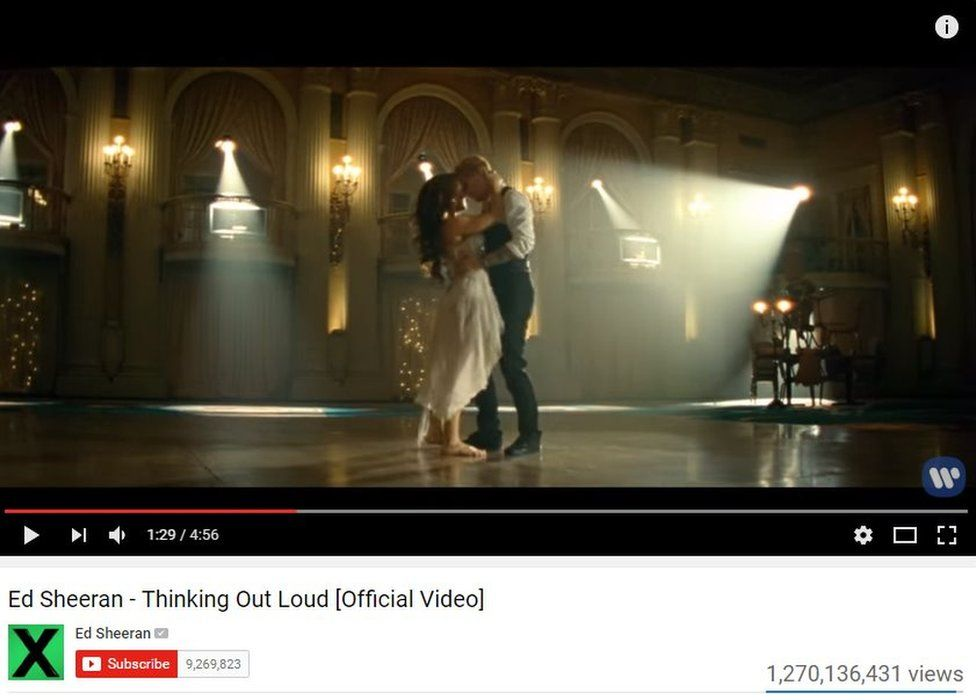 Ed Sheeran's Thinking Out Loud has more than a billion views on YouTube