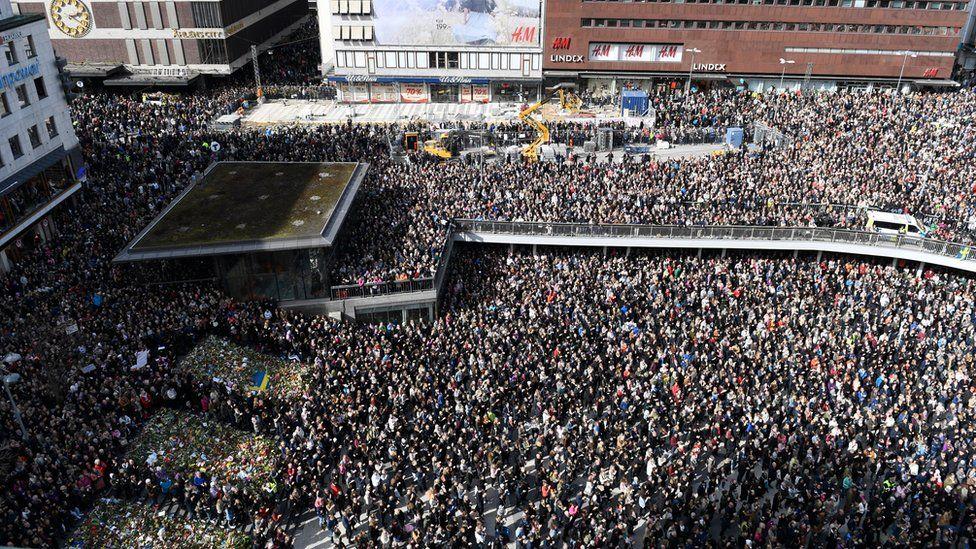 A large crowd gathered at Sergels Torg, central Stockholm