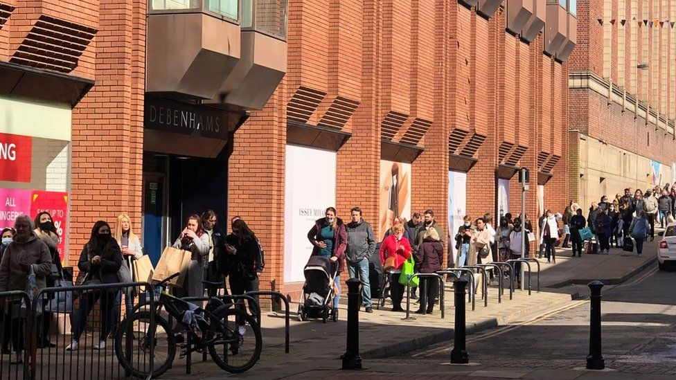 Queue outside Debenhams in Ipswich